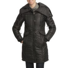 Excelled Smocked Hooded Stadium Jacket - Insulated (For Women) in Black - Closeouts