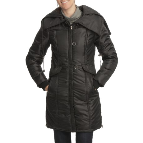Excelled Smocked Hooded Stadium Jacket - Insulated (For Women) in Black