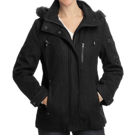 Excelled Wool-Blend Hooded Parka (For Women) in Black