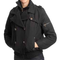 Excelled Wool-Blend Military Jacket (For Women) in Black