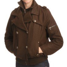 Excelled Wool-Blend Military Jacket (For Women) in Brown - Closeouts