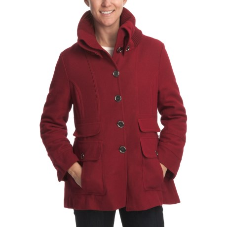 Excelled Wool Coat - Rib-Knit Collar (For Women) in Red