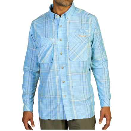 ExOfficio Air Strip Macro Plaid Shirt - UPF 30+, Button Front, Long Sleeve (For Men) in Lite Lapis - Closeouts