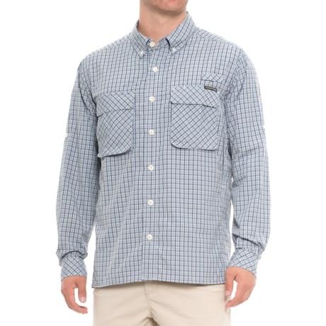 ExOfficio Air Strip Micro Plaid Shirt - UPF 30+, Long Sleeve (For Men) in Blue Lead
