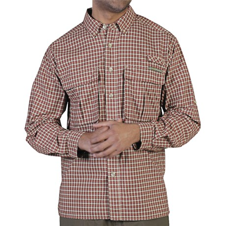 ExOfficio Air Strip Micro Plaid Shirt - UPF 30+, Long Sleeve (For Men) in Hydrant