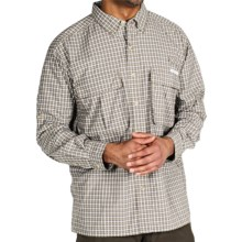 ExOfficio Air Strip Micro Plaid Shirt - UPF 30+, Long Sleeve (For Men) in Light Khaki - Closeouts