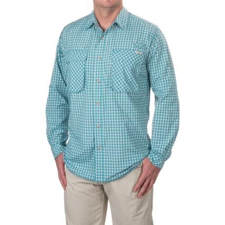 ExOfficio Air Strip Micro Plaid Shirt - UPF 30+, Long Sleeve (For Men) in Riviera
