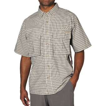 ExOfficio Air Strip Shirt - Short Sleeve (For Men) in Light Khaki