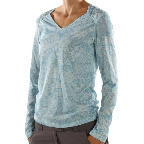 ExOfficio Aza Burnout Shirt - Long Sleeve (For Women) in Azure Heather