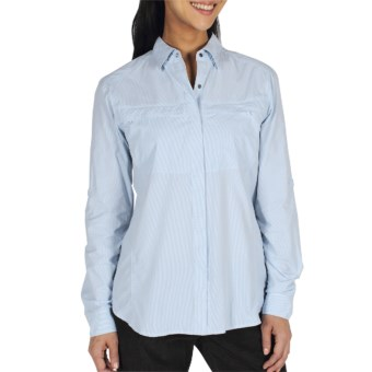 ExOfficio Bugsaway Halo Check Shirt - UPF 30+, Long Sleeve (For Women) in Light Lapis