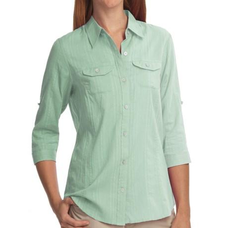 ExOfficio Campista Shirt - 3/4 Sleeve (For Women) in Light Seaglass