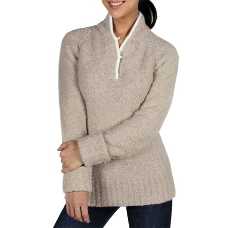 ExOfficio Chaleur Boucle Henley Sweater (For Women) in Stone