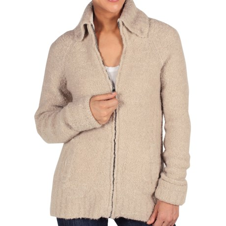 ExOfficio Chaleur Boucle Sweater - Full Zip (For Women) in Stone