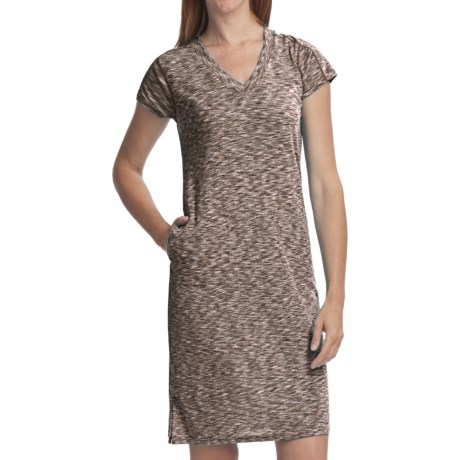 ExOfficio Chica Cool Dress - V-Neck, Short Sleeve (For Women) in Dark Pebble
