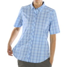 ExOfficio Dryfly Flex Midi Plaid Shirt - Short Sleeve (For Women) in Cobalt - Closeouts