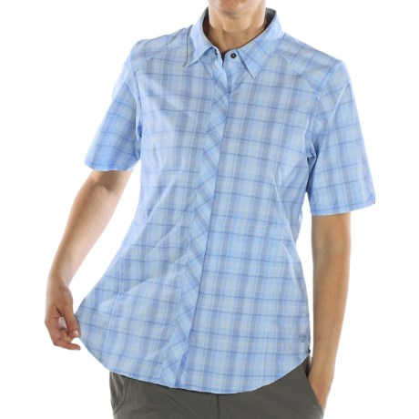 ExOfficio Dryfly Flex Midi Plaid Shirt - Short Sleeve (For Women) in Cobalt