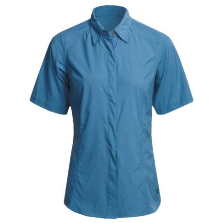 ExOfficio Dryfly Flex Shirt - UPF 30+, Short Sleeve (For Women) in Dark Aegean