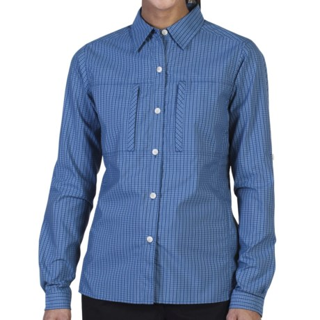 ExOfficio Dryflylite Check Shirt - UPF 30, Long Sleeve (For Women) in Deep Nile