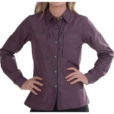 ExOfficio Dryflylite Check Shirt - UPF 30, Long Sleeve (For Women) in Kinetic