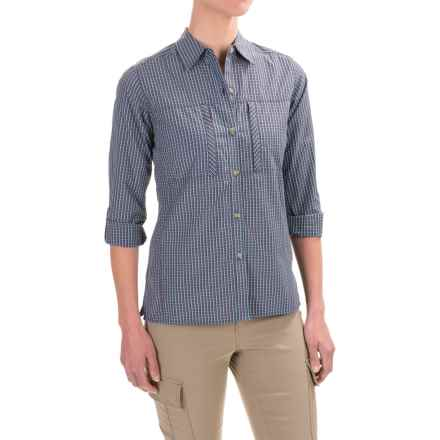 ExOfficio Dryflylite Check Shirt - UPF 30, Long Sleeve (For Women) in Marina - Closeouts