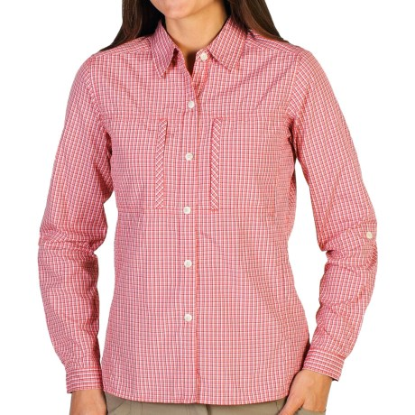 ExOfficio Dryflylite Check Shirt - UPF 30, Long Sleeve (For Women) in Nectar