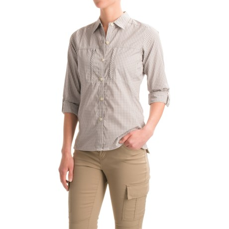 ExOfficio Dryflylite Check Shirt - UPF 30, Long Sleeve (For Women) in Oyster