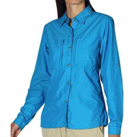 ExOfficio Dryflylite Shirt - Long Sleeve (For Women) in Mediterranean