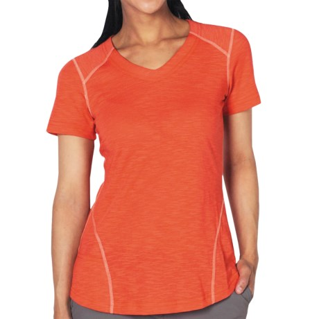 ExOfficio ExO JavaTech V-Neck Shirt - Short Sleeve (For Women) in Lychee