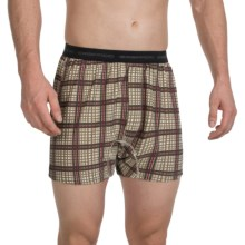 ExOfficio Give-N-Go® Printed Boxers (For Men) in Plaid Print/ Bone - Closeouts