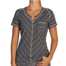 ExOfficio Go-To Pocket Stripe T-Shirt - Short Sleeve (For Women) in Black/Cement - Closeouts