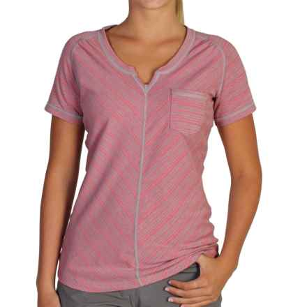 ExOfficio Go-To Pocket Stripe T-Shirt - Short Sleeve (For Women) in Nectar/Cement - Closeouts