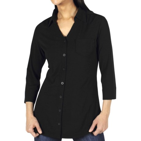 ExOfficio Go-To Shirtigan - 3/4 Sleeve (For Women) in Black