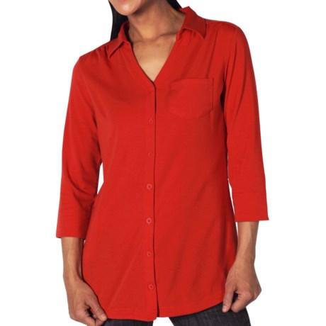 ExOfficio Go-To Shirtigan - 3/4 Sleeve (For Women) in Rose Hip