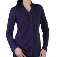 ExOfficio Go-To Shirtigan - V-Neck, Button Front, Long Sleeve (For Women) in Dark Verbena - Closeouts