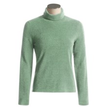 ExOfficio Irresistible Chenille Feather Fleece Turtle Neck Long Sleeve Shirt (For Women) in Seaglass - Closeouts