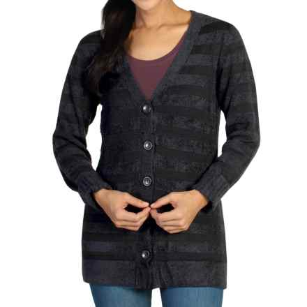 ExOfficio Irresistible Dolce Stripe Cardigan Sweater (For Women) in Black - Closeouts