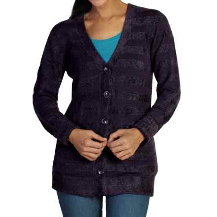 ExOfficio Irresistible Dolce Stripe Cardigan Sweater (For Women) in Nocturnal - Closeouts