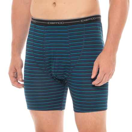 ExOfficio Navy and Graphic Stripe Print Sol Cool Boxer Briefs (For Men) in Navy/Graphic Stripe - Closeouts