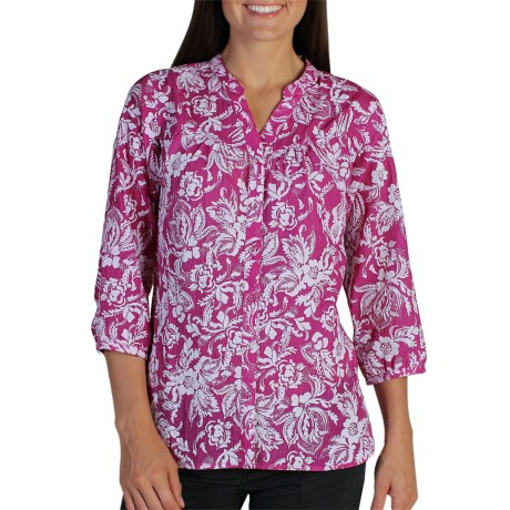 ExOfficio Next-to-Nothing Artisan Shirt - Burnout, 3/4 Sleeve (For Women) in Dazzle
