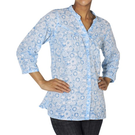 ExOfficio Next-to-Nothing Artisan Shirt - Burnout, 3/4 Sleeve (For Women) in Reef