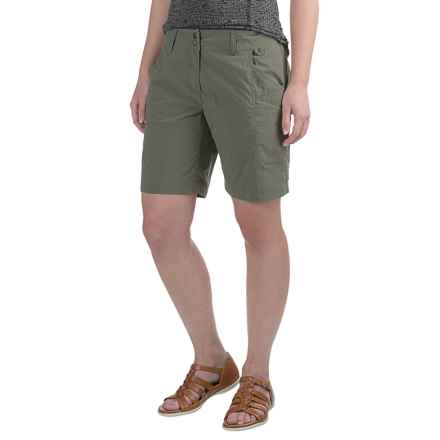 ExOfficio Nomad Flat-Front Shorts (For Women) in Bay Leaf - Closeouts