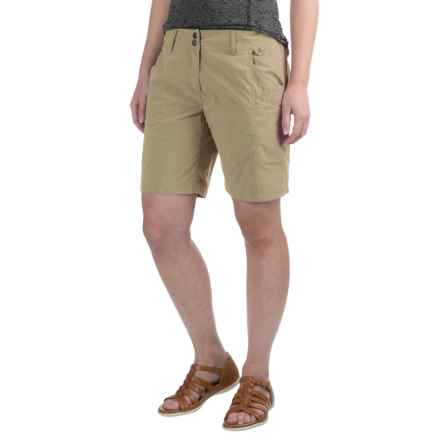 ExOfficio Nomad Flat-Front Shorts (For Women) in Light Khaki - Closeouts