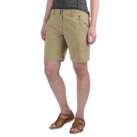 ExOfficio Nomad Flat-Front Shorts (For Women) in Light Khaki - Closeouts