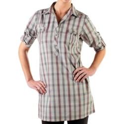 ExOfficio Pocatello Plaid Macro Dress - Roll-Up Long Sleeve (For Women) in Baltic