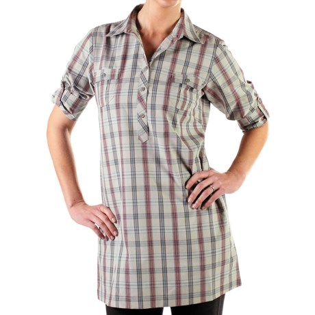 ExOfficio Pocatello Plaid Macro Dress - Roll-Up Long Sleeve (For Women) in Baltic