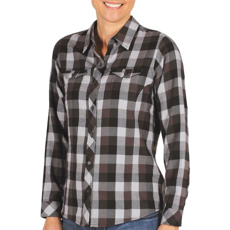 ExOfficio Pocatello Plaid Shirt - Peached Flannel, Long Sleeve (For Women) in Black