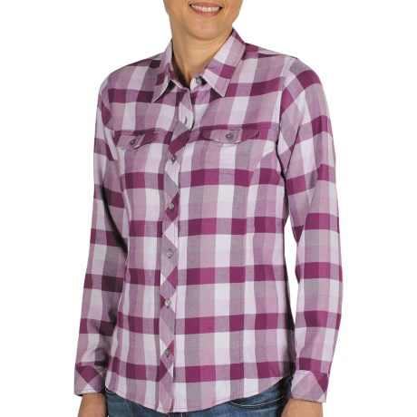 ExOfficio Pocatello Plaid Shirt - Peached Flannel, Long Sleeve (For Women) in Plum