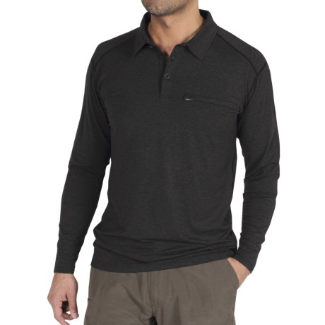 ExOfficio Teanaway Polo Shirt - Long Sleeve (For Men) in Black