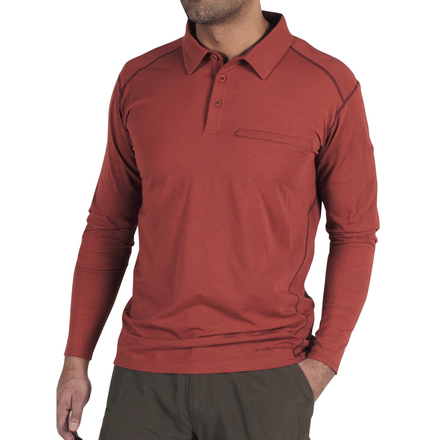 Long Sleeve Polo Tops Mens