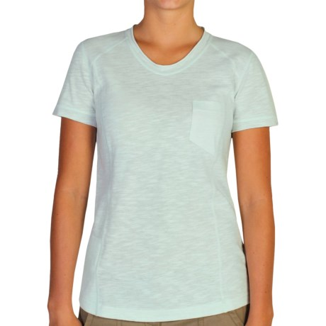 ExOfficio Techspressa Vee Shirt - UPF 50+, V-Neck, Short Sleeve (For Women) in Opaline